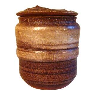 Karen Karnes Mid Century Signed Lidded Jar For Sale