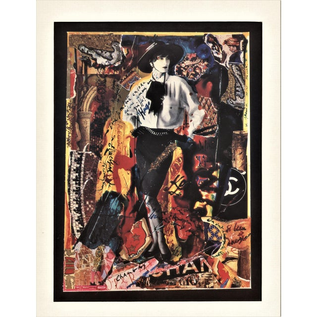 This is a fabulous collage vintage print of Chanel fashion designs modeled by the leading French model, Ines Fressange and...