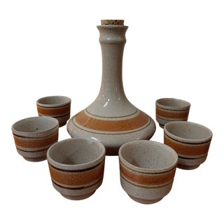 1960s Pottery Craft Carafe With Cups, 7 Pieces For Sale