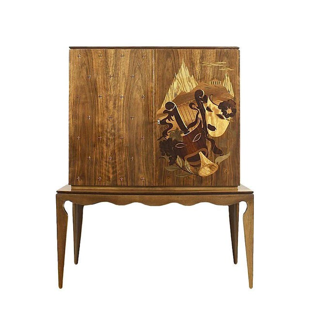1940´s Small Two Blocks Dry Bar, walnut, allegorical scene marquetry - Italy For Sale - Image 9 of 9