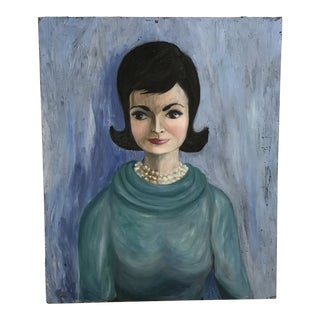 Midcentury Iconic Portrait Canvas Painting For Sale