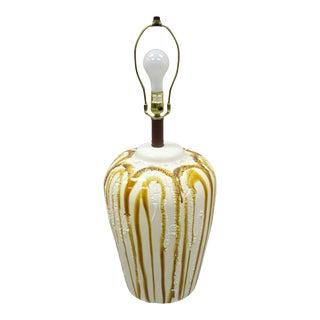 Vintage Italian Mid Century Modern Ceramic Brown Drip Glaze Jardiniere Table Lamp For Sale