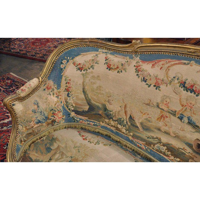 Louis XV Carved Gilt & Aubusson Tapestry Canapé - Image 5 of 10