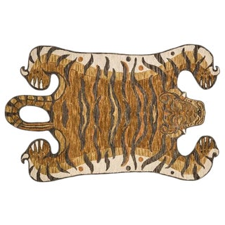 Gold Decorate Wild Animal Design Handcuffed Area Rug - 4′ × 6′ For Sale