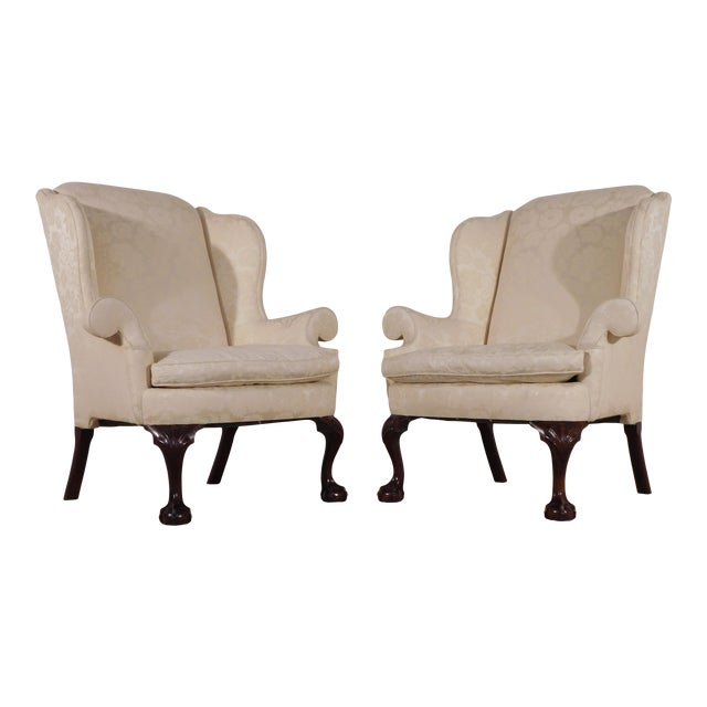 Kindel Winterthur Mahogany & Yellow Damask Easy Wingback Fireside Chairs - a Pair For Sale