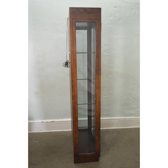 Henredon Campaign Style Lighted Curio Display Cabinet - Image 3 of 11