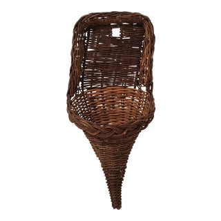 Vintage Mid Century Wicker Wall Pocket For Sale