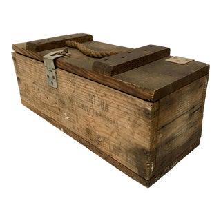 Vintage Handcrafted Wood Ammunition Box For Sale