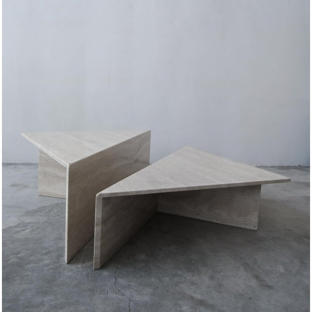 Postmodern 2-Piece Tiered Post-Modern Italian Travertine Coffee Table For Sale - Image 3 of 10