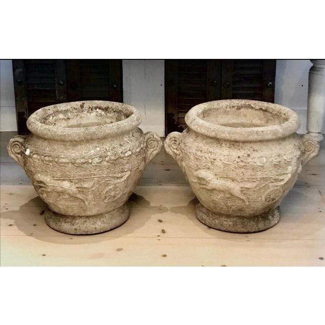 19th Century French Relief Stone Urns -A Pair For Sale - Image 13 of 13