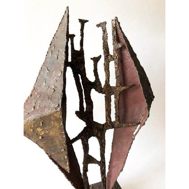 "Large-scale metal and brass Brutalist sculpture mounted on wood. Sculpture is from the 1960s or 1970s and measures 28"" by..."
