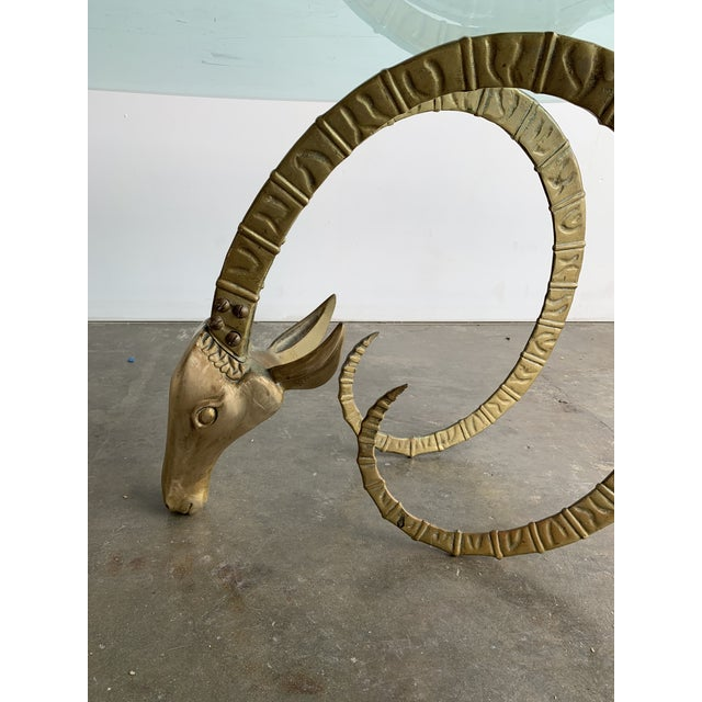 Hollywood Regency Brass Ibex Rams Head Coffee Table For Sale - Image 9 of 13