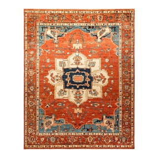 One-Of-A-Kind Oriental Serapi Hand-Knotted Area Rug, Crimson, 8' 0 X 10' 0 For Sale