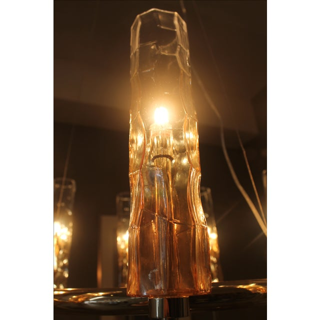 Eight Light Rose Gold Glass Chandelier - Image 5 of 7