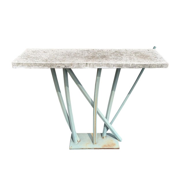 Abstract Iron and Cast Stone Console Table by Joseph Wesner For Sale - Image 3 of 13