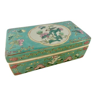 "Chinese Qing Turquoise Famille Rose ""Bird and Flowers"" Porcelain Box For Sale"