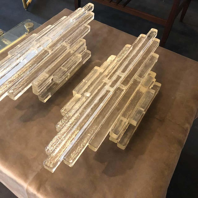 Mid-Century Modern 1960s Italian Mid-Century Modern Albano Poli for Poliarte Murano Glass Wall Sconces - a Pair For Sale - Image 3 of 9