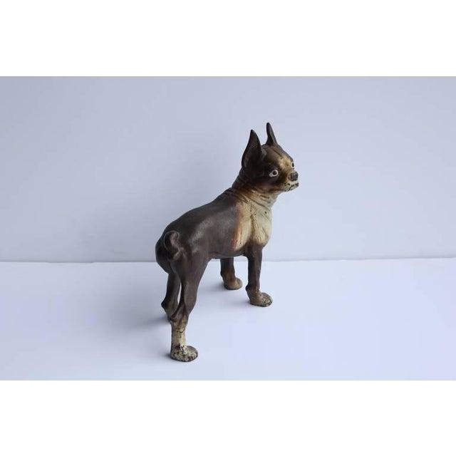 Rustic Antique Cast Iron Boston Terrier Dog Doorstop For Sale - Image 3 of 5