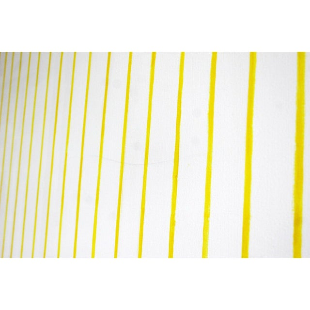 For your consideration is a sweet, extra large, yellow striped painting, signed on the back by Dan Walsh.
