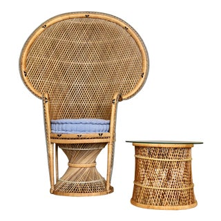 1970s Vintage Peacock Rattan Chair and Side Table – Set of 2 For Sale