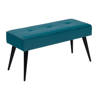 Mid-Century French Teal Vinyl Bench For Sale