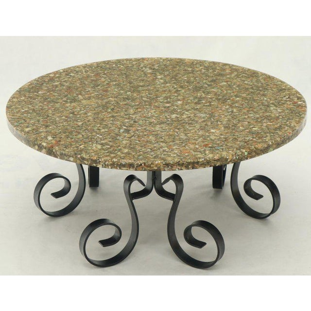 Wrought Iron Base Abalone Composite Round Top Coffee Table For Sale - Image 9 of 9
