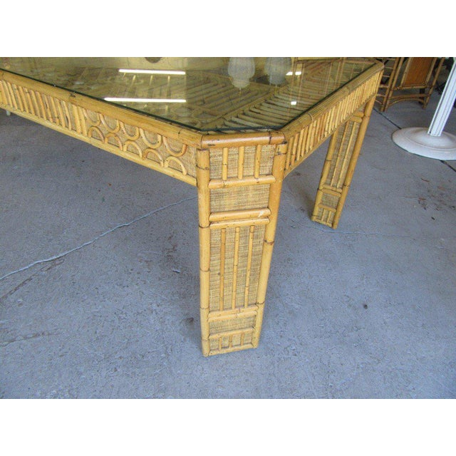 Intricate Natural Bamboo Dining Table For Sale - Image 9 of 13