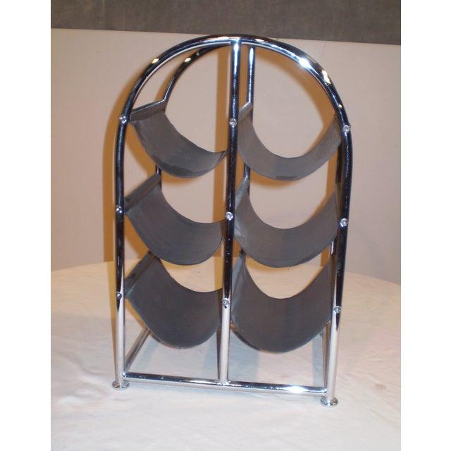 Chrome & Leather Wine Rack - Image 2 of 3