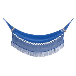 Reina Hammock in Phthalo Blue With Walnut Rods For Sale
