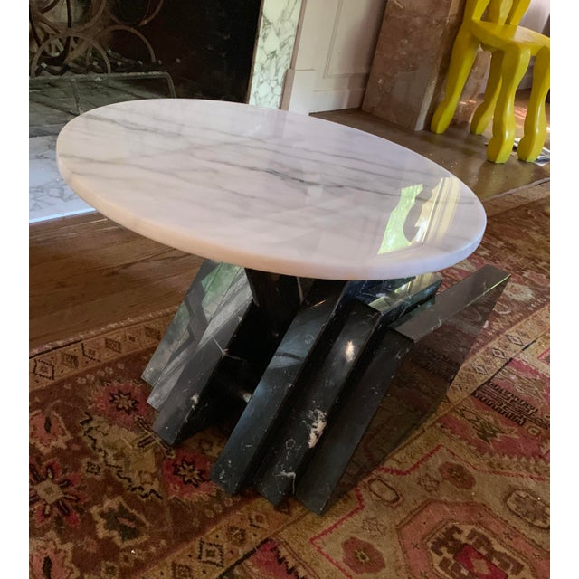 Modern 1980s Modern Stacked Marble Table With Rotating Top For Sale - Image 3 of 10