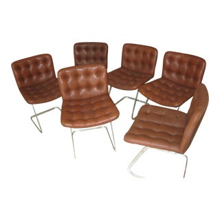 1960s Vintage Robert Haussmann for Stendig Rh- 304 Model Chairs- Set of 6 For Sale