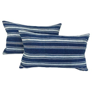 African Indigo Striped Pillows - a Pair For Sale