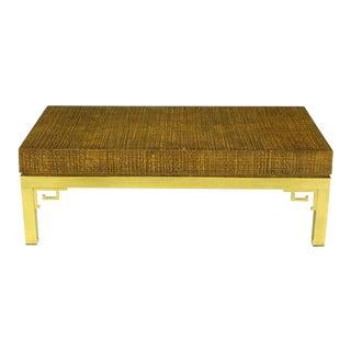 Italian Raffia & Brass Greek Key Coffee Table For Sale