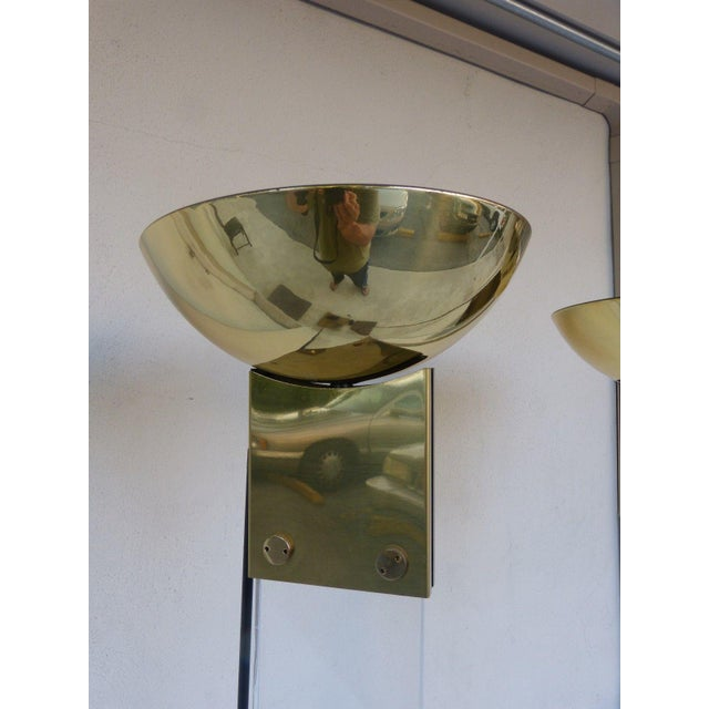 1970s 1970s Italian Architectural Skyscraper Lucite and Brass Floor Lamps - a Pair For Sale - Image 5 of 9
