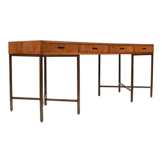 1970s Oil Rubbed Bronzed and Speckled Ash Writing Desk by Mastercraft For Sale