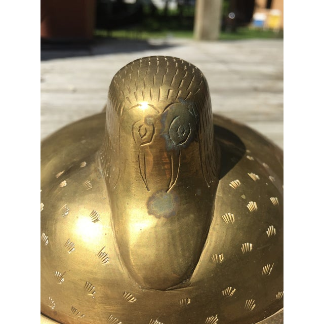 Large Brass Lidded Duck Dish For Sale - Image 4 of 9