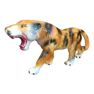 Vintage Mid Century Hollywood Regency Art Pottery Bengal Tiger Figure For Sale