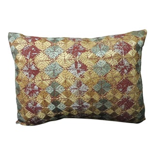 "Decorative Bolster Pillow With Indian ""Phulkari"" Vintage Textile For Sale"
