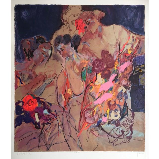 "Lea Avizedek ""Four Women on Purple"" Signed Multi-Technique Litho/Serigraph Print - Image 2 of 2"