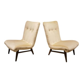 Sculptural Swedish Creamy Velvet Slipper Chairs - A Pair