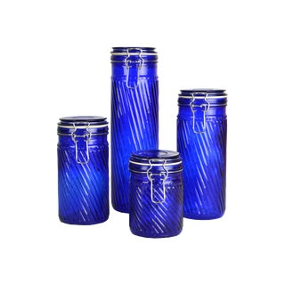 Vintage French Swirl Canisters - Set of 4