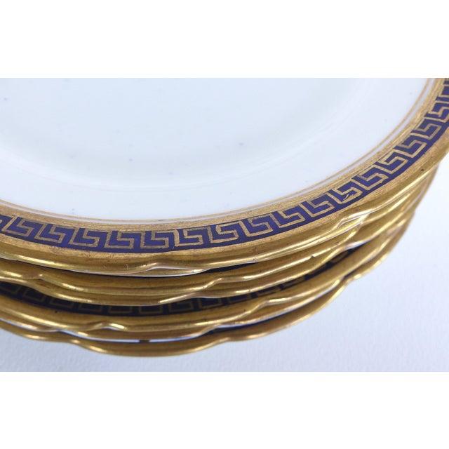 Ceramic Desert Set W/ Blue & Gold Greek Key by Jackson & Coslinc , England- Set of 8 For Sale - Image 7 of 12