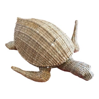 Mario Lopez Torres Woven Sea Turtle Decorative Storage Container For Sale