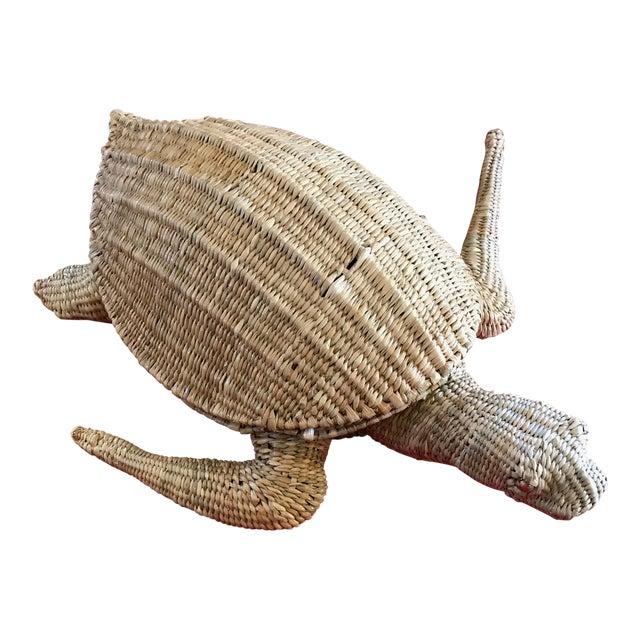 Mario Lopez Torres Woven Sea Turtle Decorative Storage Container For Sale
