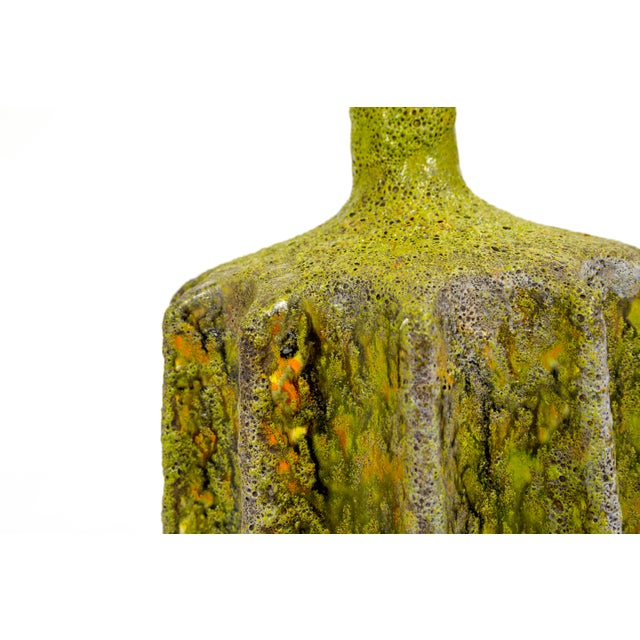 Monumental Pair of Green Lava Glaze Lamps by Volcano Fantoni For Sale - Image 9 of 12