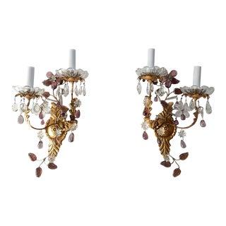 1920s Maison Baguès Amethyst Floral Crystal Sconces Signed - a Pair For Sale