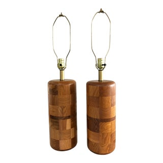 Mid-Century Boho Solid Oak Mosaic Table Desk Lamps - a Pair For Sale