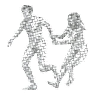 "Brutalist Wire Mesh Wall Sculpture titled ""Adam & Eve"" by Stephen Rochow"