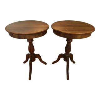Vintage Pine Side Tables - A Pair For Sale