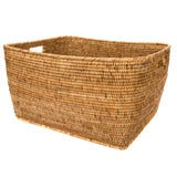 Image of Artifacts Rattan Rectangular Basket For Sale